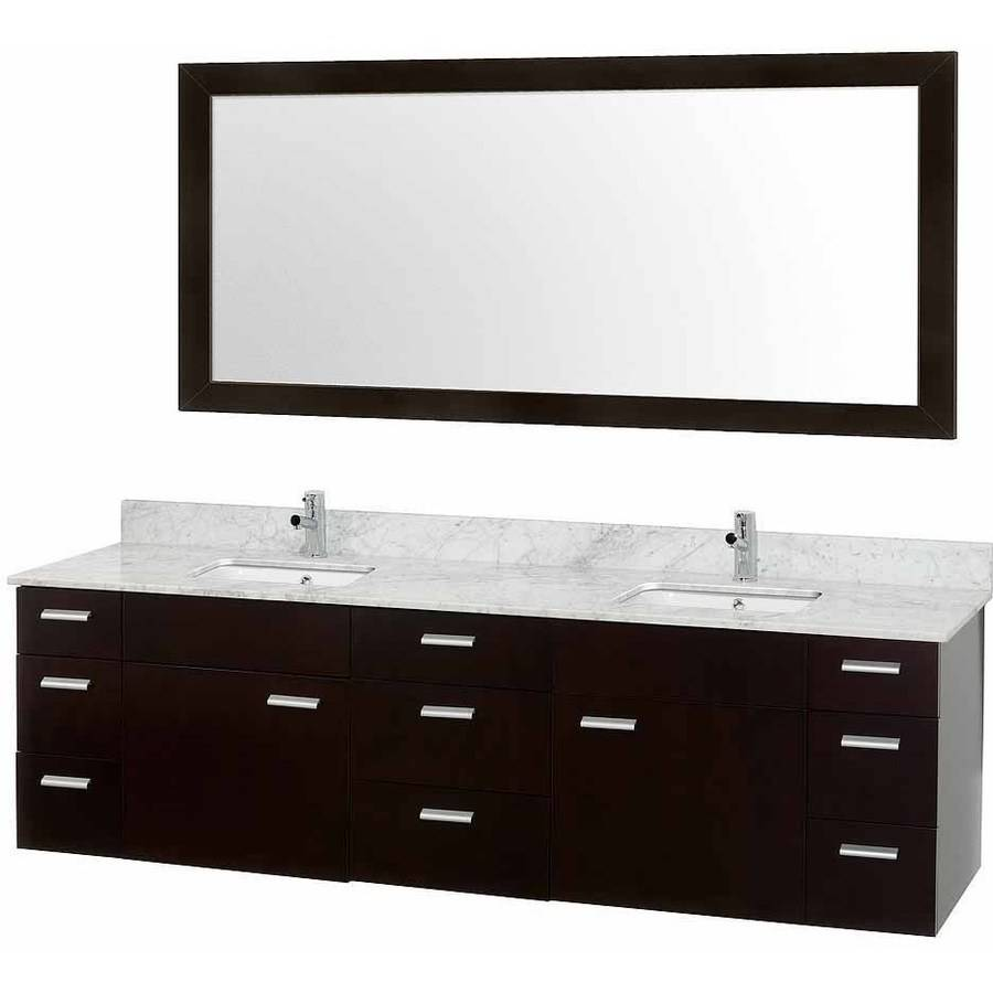 Wyndham Collection Encore 78 inch Double Bathroom Vanity in Espresso, White Carrera Marble Countertop Marble, White Porcelain Undermount Square Sink, and 70 inch Mirror