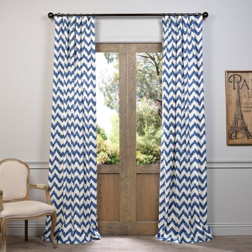 "EFF Calipso Printed Cotton Curtain Blue  120""L"