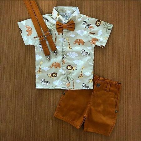 2PCS Toddler Kids Baby Boy Gentleman Shirt Tops+Pants Shorts Clothes Outfits Set