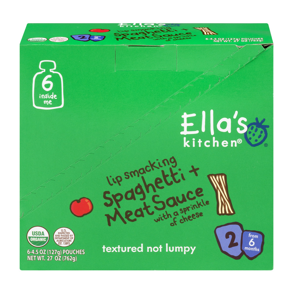 Ella's Kitchen 6+ Months Organic Baby Food, Spaghetti + Meat Sauce with a Sprinkle of Cheese, 4.5 oz. (Pack of 6)