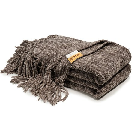 Decorative Thick Chenille Throw Blanket For Couch Throws Sofa Cover Soft Bedding With Fringe 60 X 50 Inch Gray