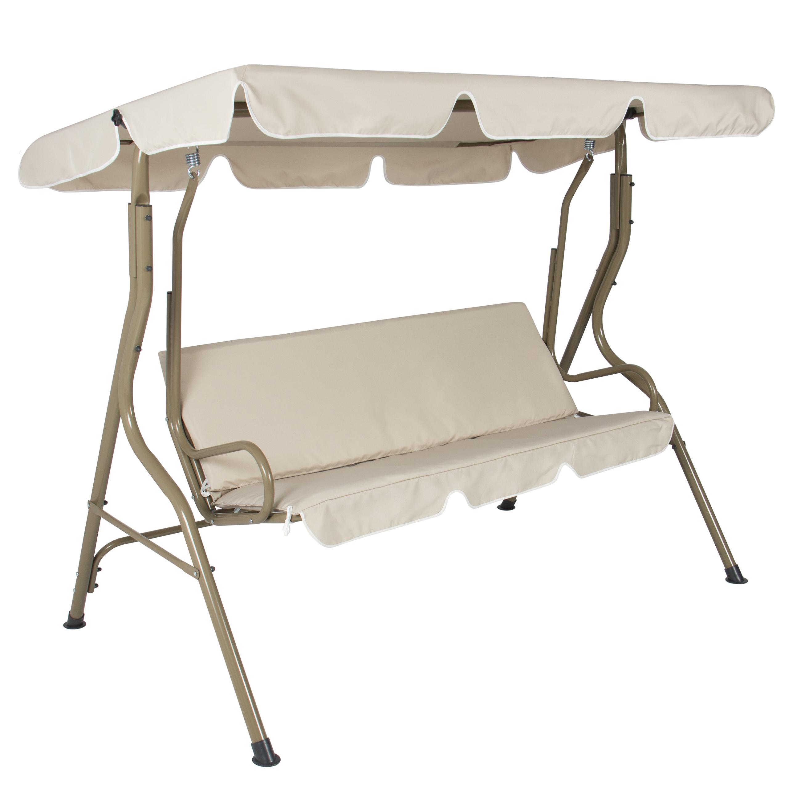 Best Choice Products 2-Person Outdoor Large Convertible Canopy Swing Glider Lounge Chair w/ Removable Cushions - Beige