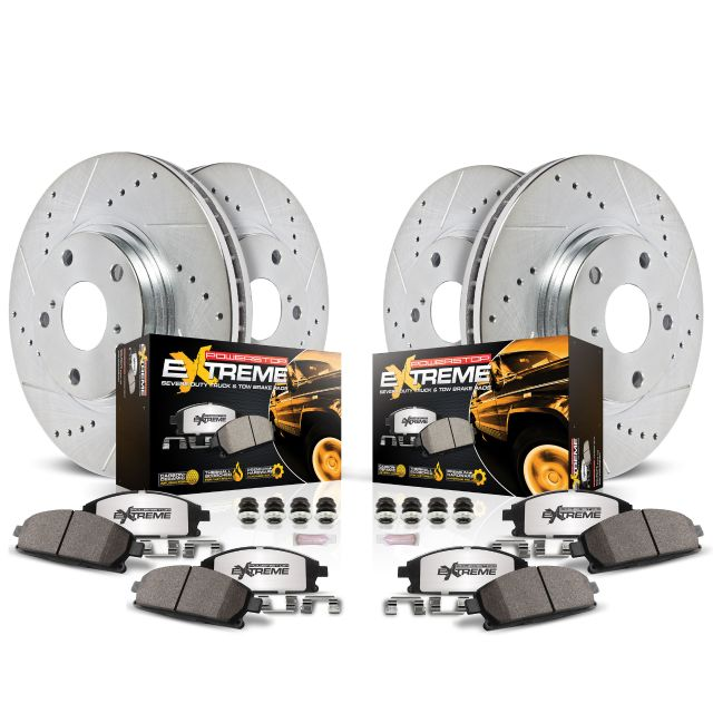Power Stop K2050 Rear Ceramic Brake Pad and Cross Drilled//Slotted Combo Rotor One-Click Brake Kit