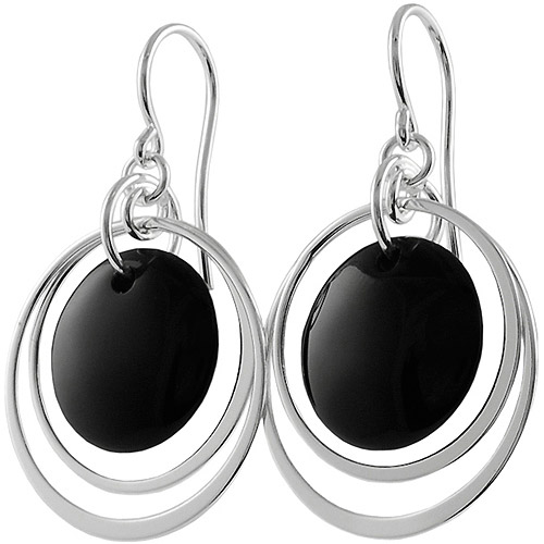 Brinley Co. Black Onyx Sterling Silver Shepherd's Hook Earrings