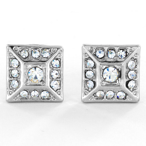 Silver-Tone Micro-Pave Crystal Square Pyramid Stud Post Earrings