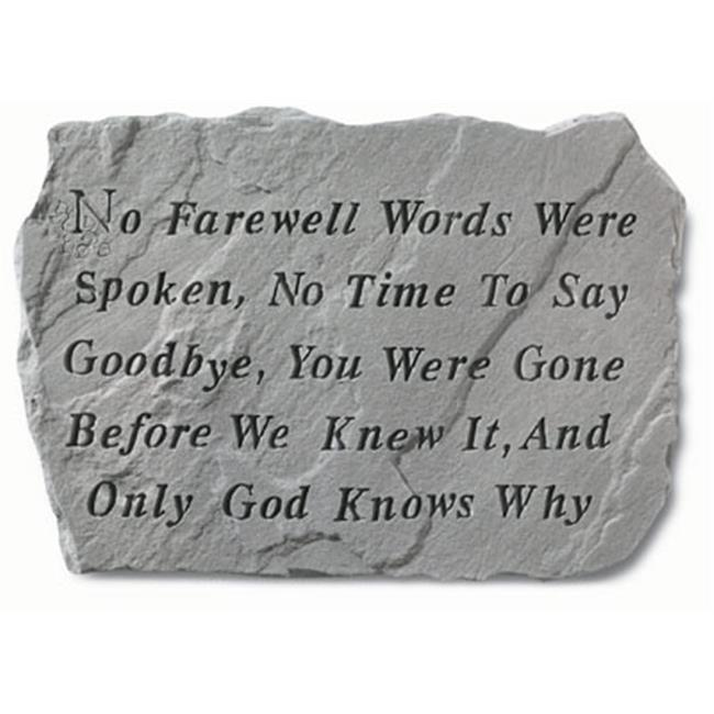 Kay Berry- Inc.  60020 No Farewell Words Were Spoken - Memorial - 18. 5 Inches x 12. 25 Inches