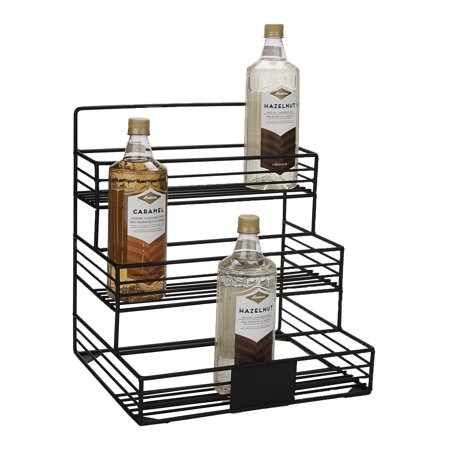 Mind Reader Iron Syrup Bottle Holder, Wire 12 Compartment Bottle Organizer, Storage for Syrup, Wine, Dressing, Black - 12 - Pewter Wine Bottle Holder