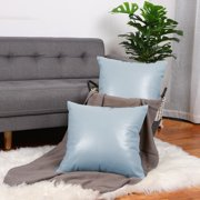 "Pack of 2,Faux Leather Pillow Covers, Decorative Throw Cushion Covers for Couch Sofa Bed,18"" x 18"",Pale Blue"