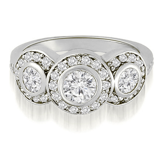 """1.50 cttw. 18K White Gold Three-Stone Triple Halo Round Diamond Engagement Ring (I1, H-I)"""