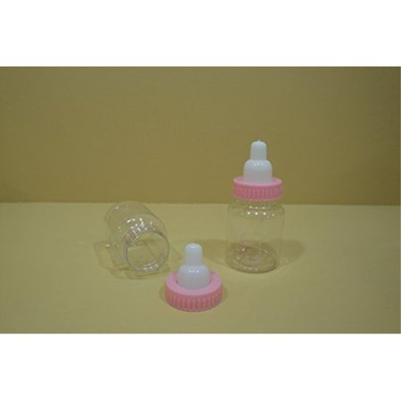 24 Plastic Fillable Bottle Baby Shower Favor (3 1/2 Tall) (Choose Any Colors) (Plain Pink) by - Baby Shower Colors