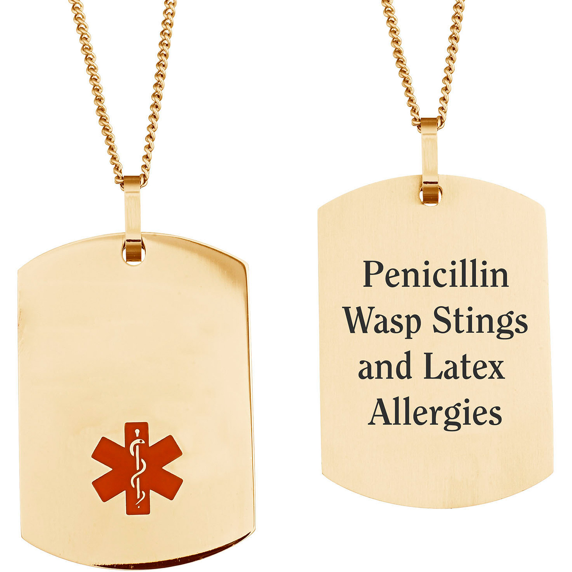 Personalized Stainless Steel Medical ID Dog Tag Pendant, 19.5""