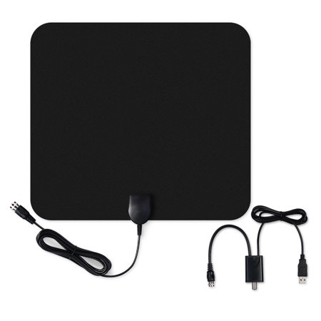 Pictek Amplified HDTV Antenna-50 Miles Range, Ultra-thin Indoor Digital HDTV Antenna with Detachable Amplifier Signal Booster, Optimized Butterfly-Shaped Picture, 10ft Long Cable for Better Reception