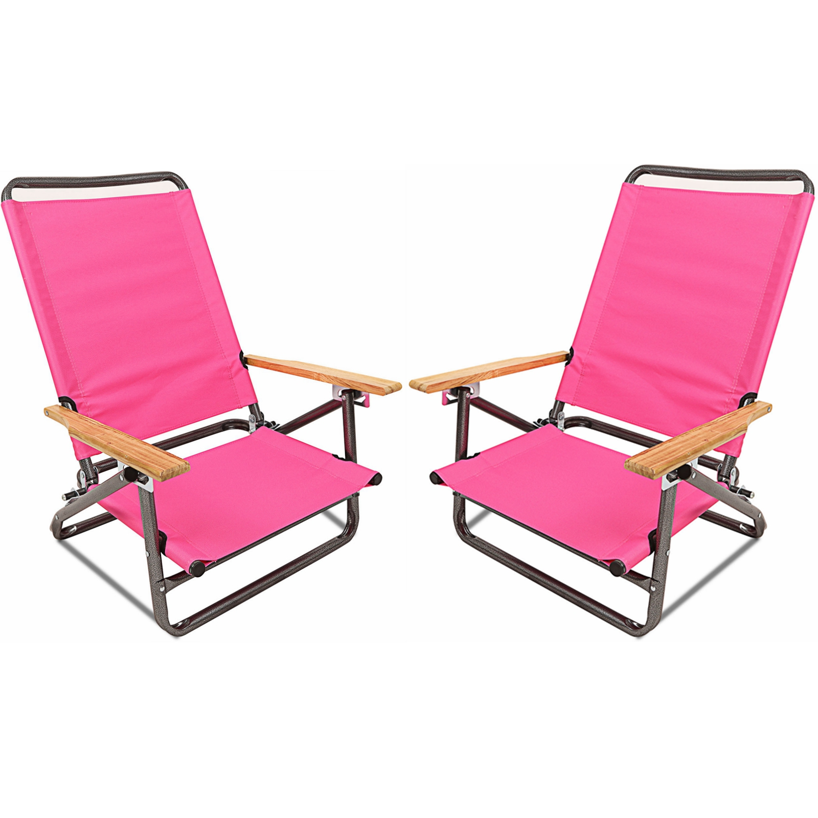 Deluxe 3-position Lightweight Beach Chair Camping Hiking Chair With Wooden Armrest Set of 2 Coffee Stripe