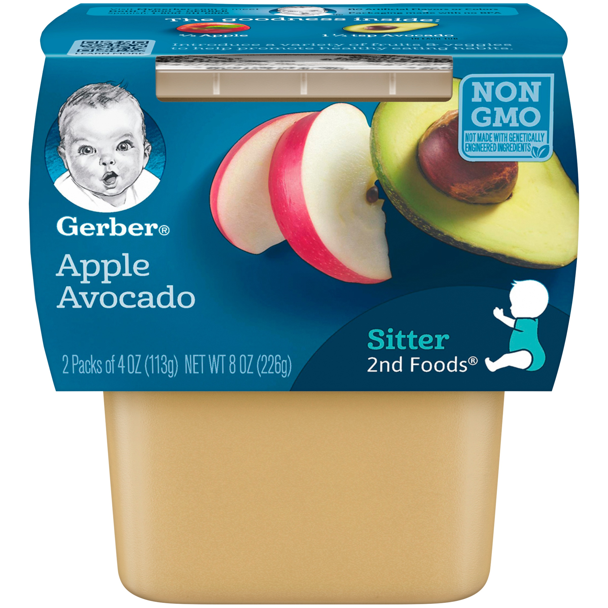 (6 Pack) Gerber 2nd Foods Apple Avocado Baby Food, 4 oz. Tubs