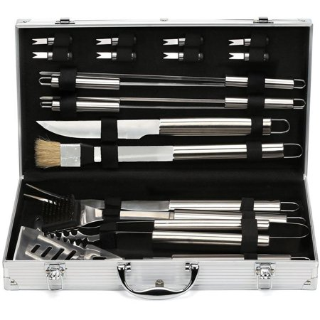 Estilo EST0239 19 Piece Stainless Steel BBQ Grill Tool Set with Aluminum Storage Case