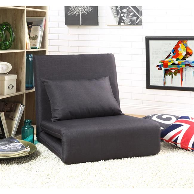 Loungie Relaxie Linen 5-Position Adjustable Convertible Flip Chair  Sleeper Dorm Bed Couch Lounger Sofa - Black