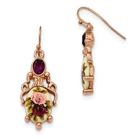 FB Jewels Rose-tone Dark Purple Crystal & Floral Decal Dangle Earrings Floral Gemstone Earrings