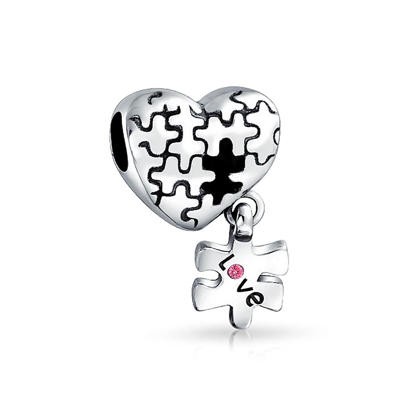 Sterling SilverI Love Dancing Heart Word Dangle Charm Bead For Bead Charm Bracelet