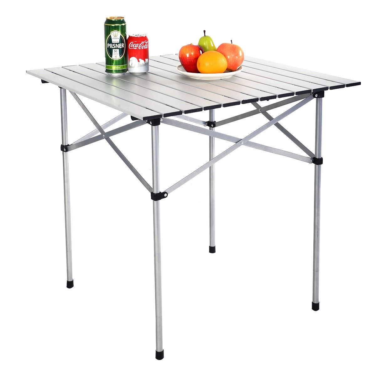 Portable Aluminum Roll Up Table Folding Camping Outdoor Picnic Table Garden Yard (Small)