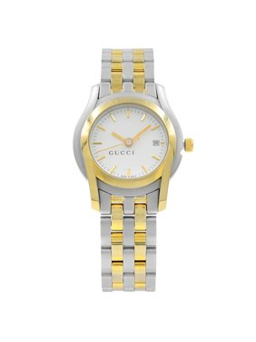 db2bd196753 Product Image Pre-Owned Gucci 5500L White Sticks Dial Gold Tone Steel  Quartz Ladies Watch YA055528