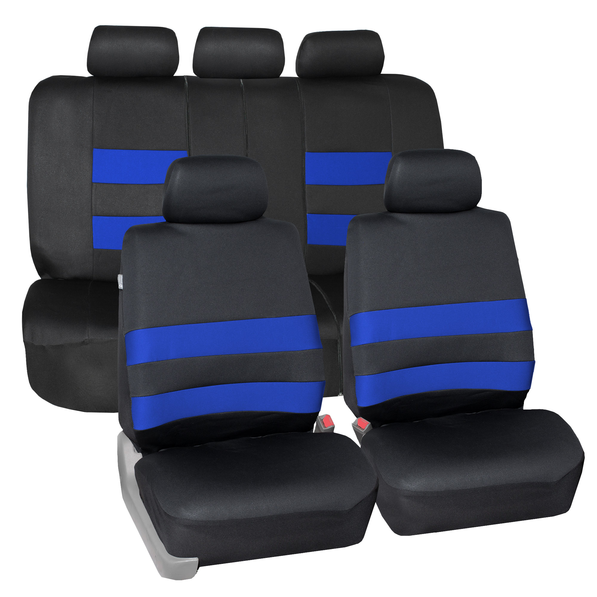 FH Group Premium Neoprene Seat covers, Airbag & split  Compatible, Full Seat Covers with 5 Headrest Covers, 9 Colors