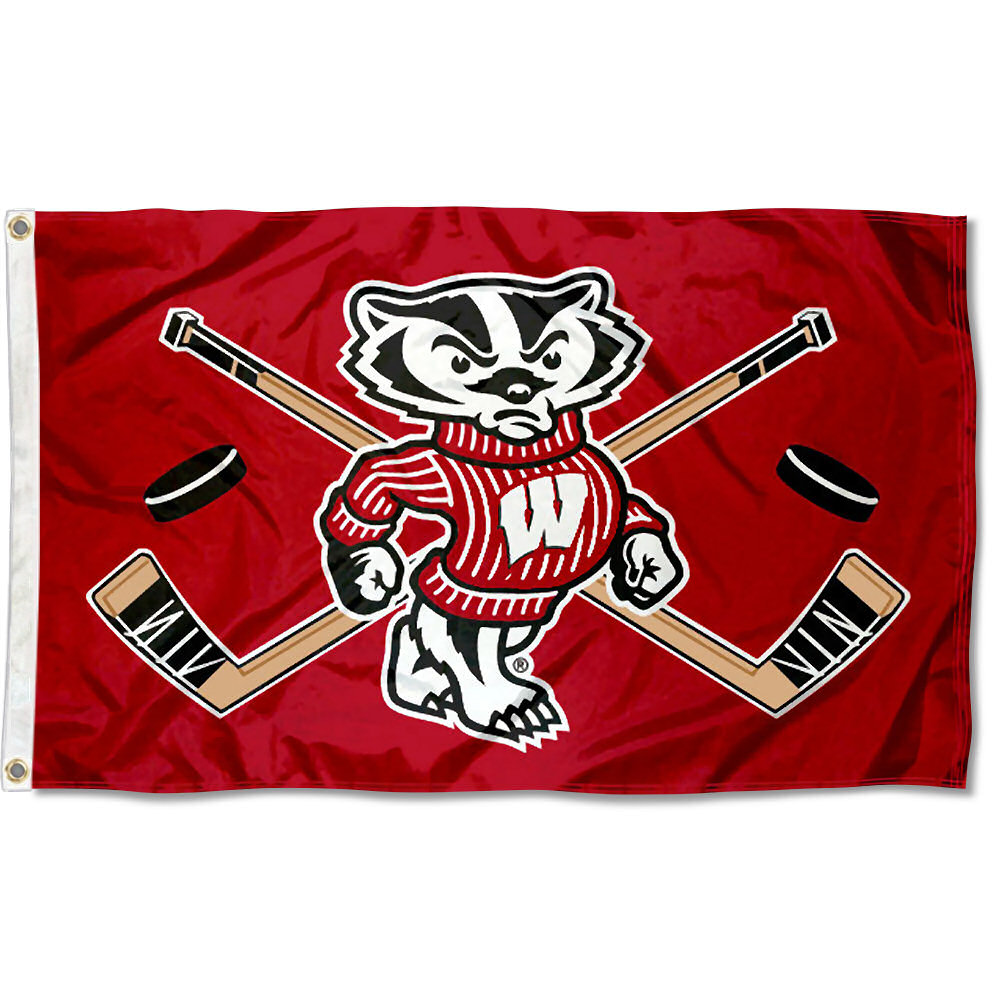 Wisconsin Badgers Hockey 3' x 5' Pole Flag