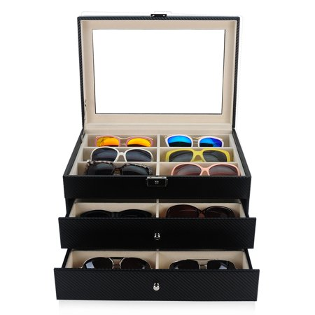 18 Piece Black Carbon Fiber Eyeglass Display Case for Oversized Sunglasses & Glasses Watch Organizer Collector Box (Carbon Fiber 1 8)