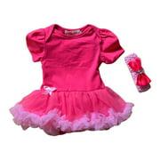 Little Girls Hot Pink Fluffy Lap Shoulders Romper Tutu Dress 3T
