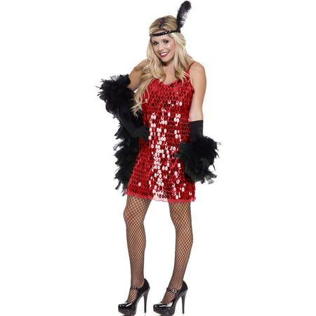 Womens  Red Sequin Roaring 20's Flapper Dress Costume - Red Flapper Dress Costume