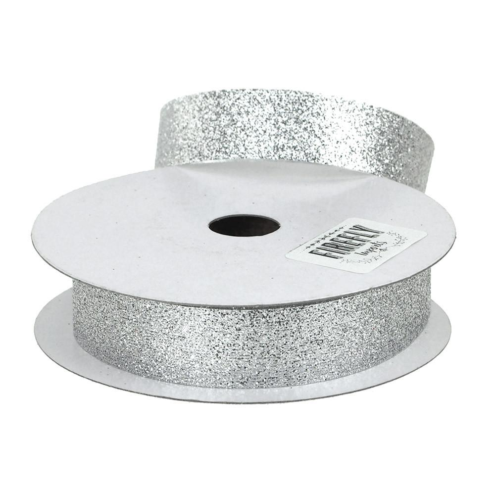 Glitter Ribbon Christmas Gift-wrapping, 7/8-Inch, 25 Yards, Silver