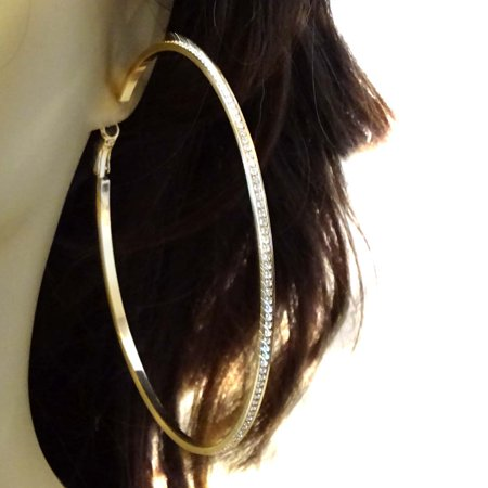 Large Channel Rhinestone Hoop Earrings Gold Tone 4 inch Gold Rhinestone Earrings