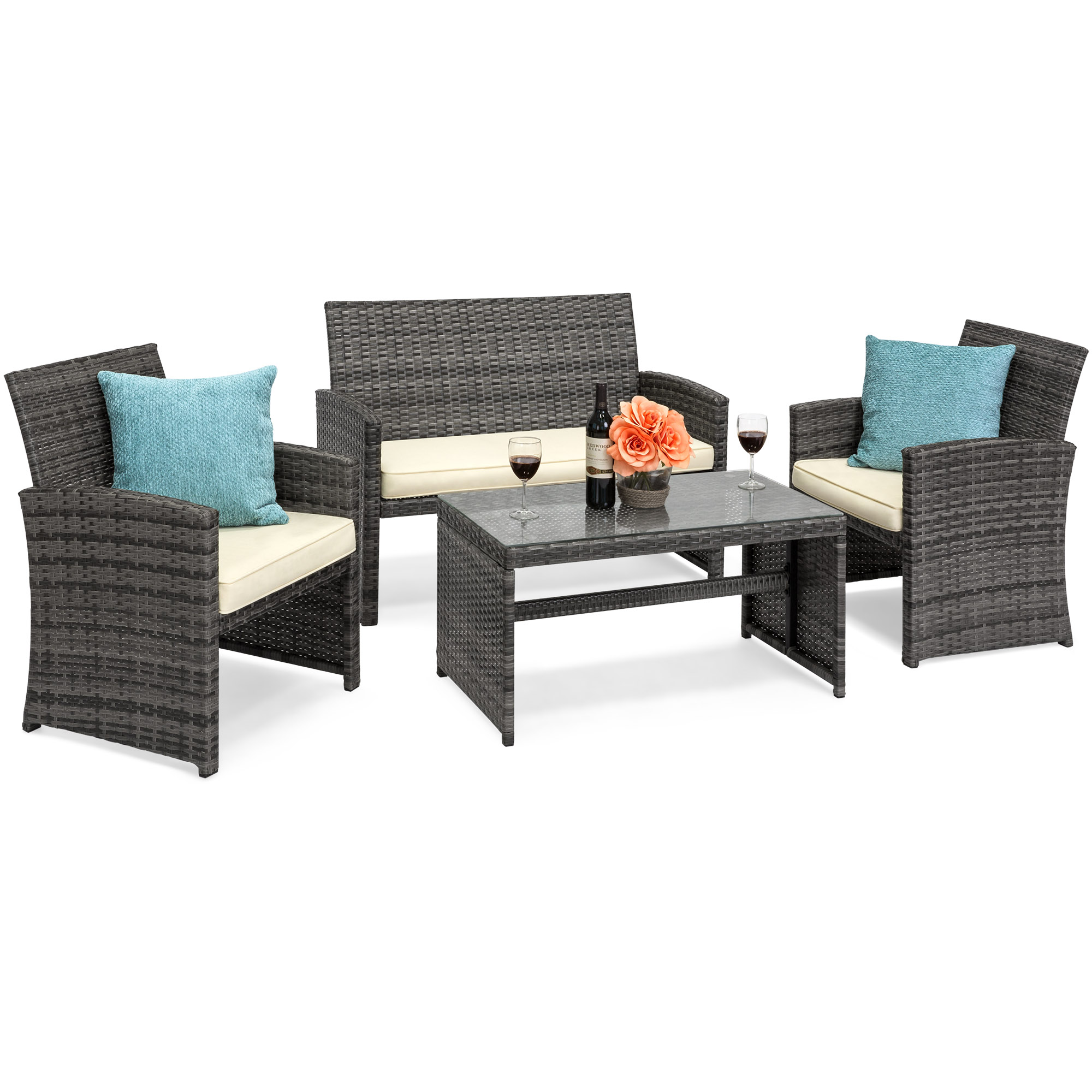 BCP 4-Piece Wicker Patio Furniture Set w  Tempered Glass, Sofas, Table, Seats by Best Choice Products