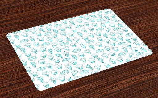 Ice Cream Placemats Set Of 4 Hand Drawn Ice Cream Pattern