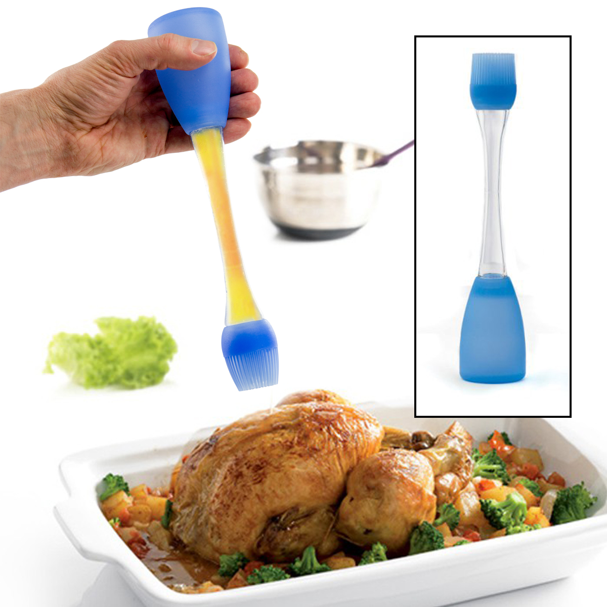 Orka Standing Silicone Turkey Blue Bulb Baster with Brush Grilling BBQ Oil