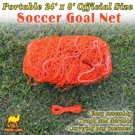 New Portable 24' x 8' Official Size Soccer goal Net Outdoor Football Training Orange