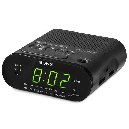 Sony AM/FM Black Clock Radio, ICFC218BK