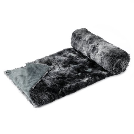 Black Throw Blanket (LANGRIA Faux Fur Fleece Throw Fluffy Cozy Soft Dyed Blanket Black 60