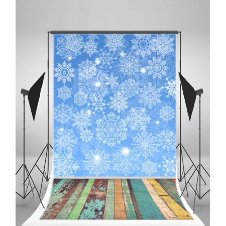 GreenDecor Polyster 5x7ft Christmas Backdrop Photography Background Snowflake Blue Wallpaper Rustic Colorful Paint Stripes Wood Floor Winter Happy New Year Eve Celebrate Kids Adults Photo Studio Props