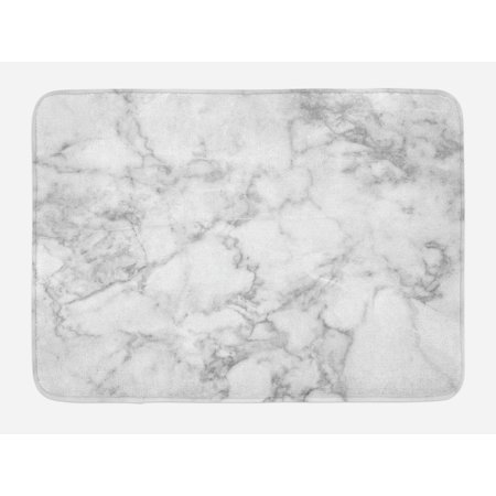 Marble Bath Mat, Nature Granite Pattern with Cloudy Spotted Trace Effects Marble Artistic Image, Non-Slip Plush Mat Bathroom Kitchen Laundry Room Decor, 29.5 X 17.5 Inches, Pale Grey Dust, (Nature Nap Mat)