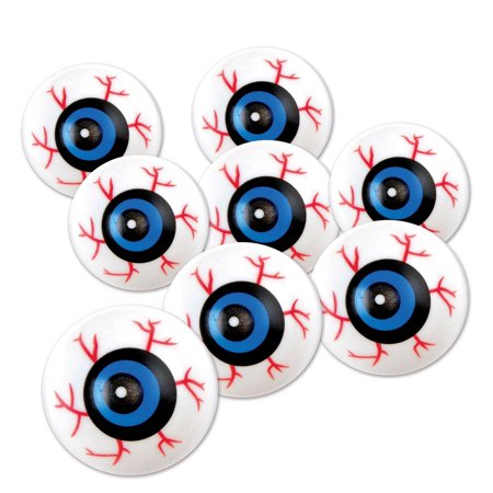 Club Pack of 96 Halloween Red, Blue and White Scary Eyeballs 1.25""