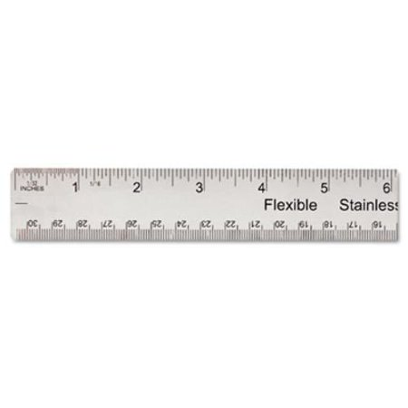 Universal Office Products 59023 Stainless Steel Ruler W Cork Back And Hanging Hole  12   Silver