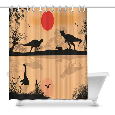 POP Dinosaurs Silhouettes in Beautiful Landscape at Sunset Art Decor Bathroom Shower Curtain 60x72 inch - image 1 of 1