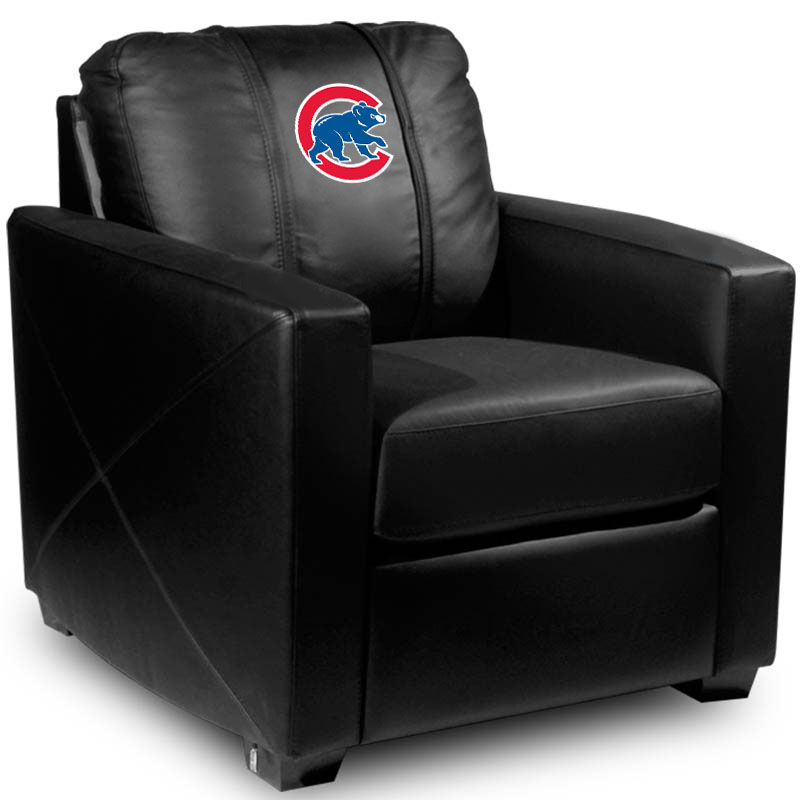 Chicago Cubs MLB Silver Chair with Secondary Logo Panel