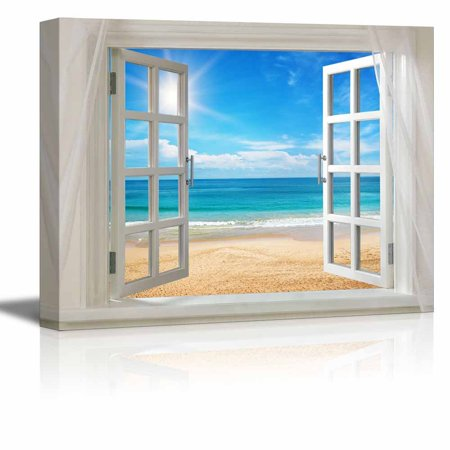 Wall26 - Glimpse into Clear Sea and Beach Out of Open Window - Canvas Art Wall Decor - 36