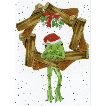 LPG Greetings Frog under Mistletoe Box of 18 Christmas Cards