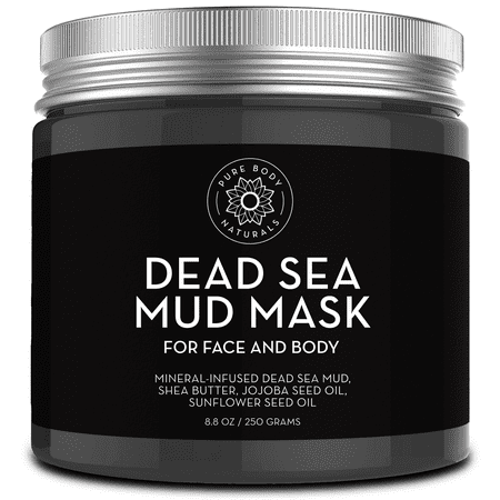 Pure Body Naturals Dead Sea Mud Mask - Face Mask and Body Mud for Acne, Blackheads, and Oily Skin - Facial Self Care for Men and Women - Minimize Pores with Deadsea Mud, Clay, Charcoal - 8.8 Ounce