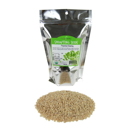 Organic Pearled Barley (Hulled) - 1 Lb Re-Sealable Package - Barley Grains for Flour, Bread, Beer Making Animal Feed, Food Storage & More