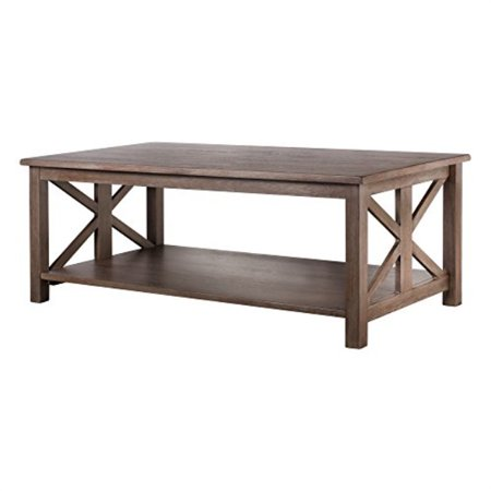 Vibrant Furnishings Farmhouse Style Coffee Table: Solid Wood Rustic East End Collection Living Room Furniture