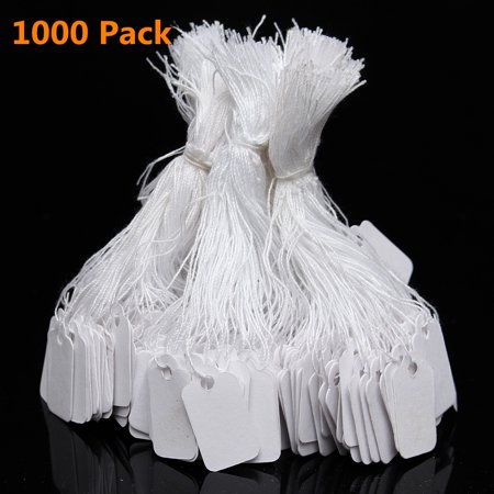 1000 Pack Mini Price Tags, White Label Tie String Strung Jewelry Watch Display Merchandise Price (Orange Strung Tag)