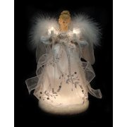 "12"" Ice Palace Lighted White and Silver Angel Christmas Tree Topper - Clear Light"